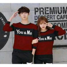 Toko Legionshop Sweater Pasangan Sweater Couple You Me Maroon Black Online