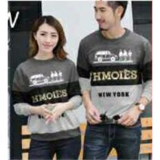 Promo Legionshop Sweater Pasangan Sweater Couple Hmoies Grey Black Misty