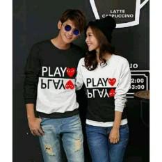 Harga Legionshop Baju Pasangan Sweater Pasangan Sweater Couple Atasan Murah Pakaian Couple Terbaru Baju Kembar Baju Couple Sweater Kembar Play Black White Sudah Harga 2 Sweater Baru