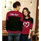 Legionshop Sweater Pasangan Sweater Couple True Love Maroon Black Murah