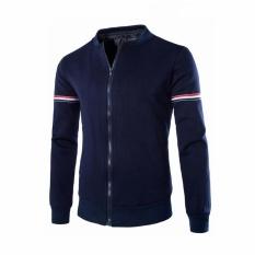 Spesifikasi Leisure Bisbol Jaket Fashion Pelapis Garis Mens Slim Jaket Navy Blue Intl Terbaik