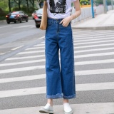 Beli Jepit Sendal Wanita Rekreasi High Waisted Jeans Panjang Celana Korea Biru Intl Cicil