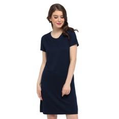 LEMONE Tumblr Tee T-shirt Kaos Cewe Spandek Premium Dress Wanita KAE100096 Navy Polos