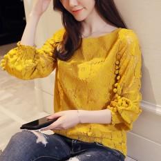 Lengan Lengan Panjang Wanita Baru Kemeja Kecil Baju Dalaman (Kuning)