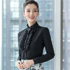 Jual Korea Lengan Sifon Wanita Lengan Panjang Putih Kemeja Kemeja Putih Hitam Kerah Stand Up Di Tiongkok