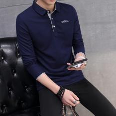 Beli Lengan Panjang Pria Kerah Turndown T Shirt Kemeja Polo Biru Tua Abu Abu Kerah Baju Atasan Kaos Pria Kemeja Pria Murah Tiongkok