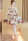 Jual Lengan Panjang Ukuran Besar Tipis Rok Dicetak Baju Baru Gaun Khaki Branded Original