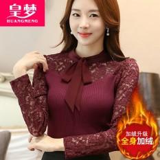 Lengan Panjang Wanita Baru Renda Baju Dalaman Kemeja Rajut ( Anggur Merah [