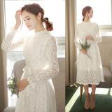 Spesifikasi Lengan Panjang Wanita Renda Setengah Panjang Model Rok Dalaman Renda Slim Gaun Putih Tidak Tambah Beludru Paling Bagus