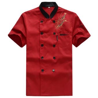 Baju Koki Hitam Lengan Pendek Bernapas (Udang Model Merah Lengan Bang Pendek + Lengan Bergaris