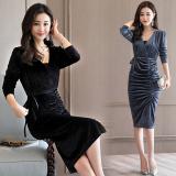 Katalog Gaun Korea Fashion Style Beludru Rok Setengah Panjang Lengan Perempuan Hitam Terbaru