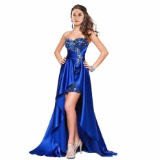 Leondo Biru Panjang Prom Gaun Sweetheart Garis Leher Tali Belakang Cahaya Lembut Satin dengan Sequins-Intl