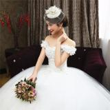 Beli Leondo Bunga Lace Pernikahan Gaun Off The Bahu Lantai Panjang Tidak Ada Kereta Api Bridal Gaun Intl Seken