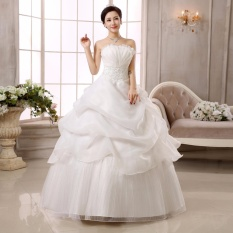 Toko Jual Leondo Wedding Dresses Floor Length Organza Lace Bridal Ball Gowns Formal Ivory Intl