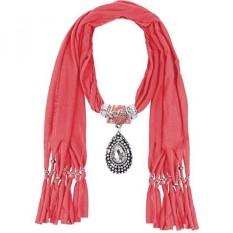 Lerdu Ide Hadiah India Teardrop Stone Liontin Merah Muda Syal Kalung Lembut Jersey Tak Terbatas Syal Rumbai Perhiasan untuk Wanita-Internasional