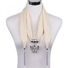 Lerdu Ide Hadiah Navy Blue Polka Dot Syal Ramping Kalung untuk Wanita India Panjang Butterfly Pendant Pernyataan Aksesoris Perhiasan untuk Wanita