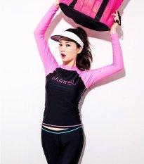 Huruf Cetak Wanita Fashion Patchwork Lengan Panjang Dua Buah Swimsuit Sun Tahan Wetsuit (Pink)