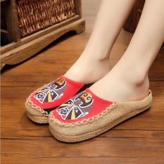 Leyi Topi Baseball Kap Facebook Bordir Tangan Bordir Linen untuk Sepatu Wanita (Merah)-Intl