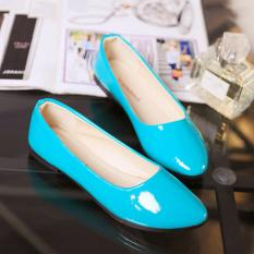 Beli Leyi Topi Baseball Kap Ladies Fashion Murni Warna Pu Flat Shoes Biru Intl Di Tiongkok