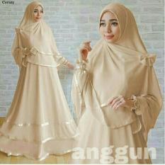 LF Baju Setelan Gamis Wanita bisa Busui / Set Terusan / Syari Simple Elegant / Baju buat lebaran / Kebaya Modern (ggunan) 1N - COKLAT SUSU /Hijab Muslimah / Baju Muslimah Wanita / Syari Syari'i Muslim / Gaun Muslim / Long Dress Muslimah Wanita