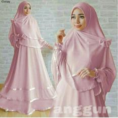 LF Baju Gamis Wanita syari bisa Busui GRATIS HIJAB / Set Setelan / Simple Elegant / Baju Lebaran (ggunan) 1N - Pink Dusty / Baju Muslimah Wanita / Syari Syari'i Muslim / Gaun Muslim / Long Dress Muslimah Wanita