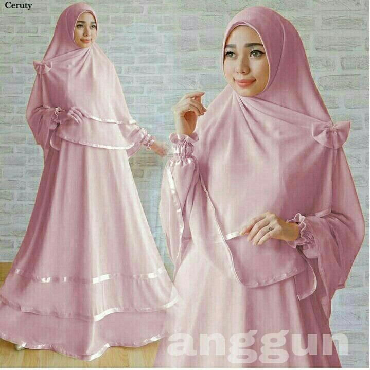 LF Baju Gamis Muslimah syari Fitri Busui   Set Terusan Maxi   Syari Simple  Elegant   6f289c330f