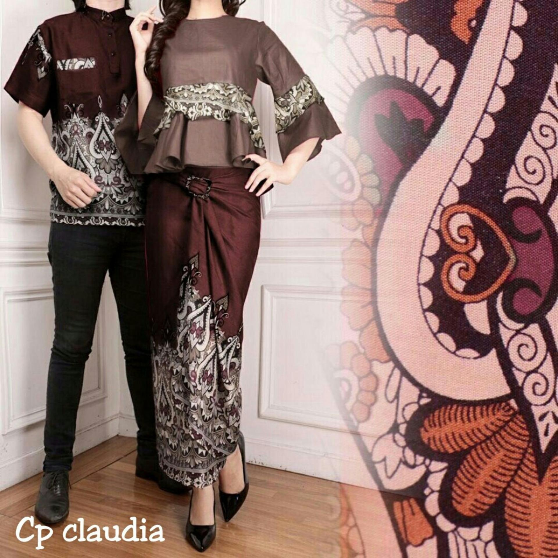 Ladies Fashion Couple Kemeja Batik Pria Muslim Kebaya KutuBaru Modern Dress  Batik Pasangan Mira 3in1 Rok 98dcf9ef55