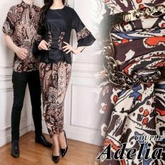 LF Kemeja Batik Pasangan / Batik Couple Modern / Atasan Batik / Batik Wanita / Set Muslimah Pesta Kondangan (eliaad) AK - Hitam D1C