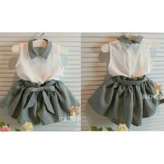 Ladies Fashion Baju Dress Anak Anak / baju Anak Polos 3 - 5 tahun / Baju Kodok / Baju dan Rok Polos / Trendy Lucu Bagus Kiddy (ts ddyki) NR - Abu