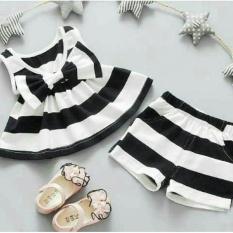 Baju Anak / Setelan Anak perempuan / Baju Anak Wanita Lucu Salur / Dress Wanita / Usia 3 - 5 Tahun / Baju Setelan  Imut NV (caca bbonri) - Putih D2C