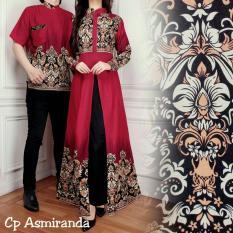 Ladies Fashion Batik Pasangan Wanita dan Pria / Batik Wanita / Batik Pria / Kemeja Pria Gamis Muslim / Kebaya Dress Wanita Batik Pasangan/ Set Muslim (mirandaas) AK - Maroon D1C