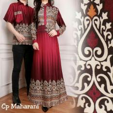 Beli Lf Couple Kemeja Cowok Pria Muslim Batik Couple Rani Gamis Muslim Kebaya Dress Wanita Batik Pasangan Set Muslim Haranima Ak Maroon D2C Cicilan