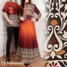 Ladies Fashion  Batik Pasangan / Couple Kemeja pria Muslim / Batik Couple Wanita Pria / Gamis Muslim / Batik Asli / Set Muslim (haranima) AK - Orange D1C