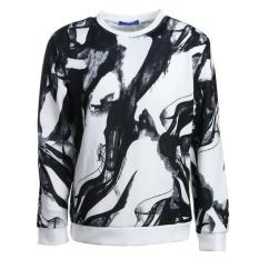 Celana Panjang Pria 's Digital Printing Lukisan Tinta Pullover Atasan Kasual Sweatshirt dengan Leher Bentuk Lingkaran-Intl