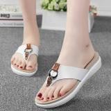 Spek Sepatu Sandal Wanita Kulit Asli Sol Datar Anti Selip Putih Putih Tiongkok