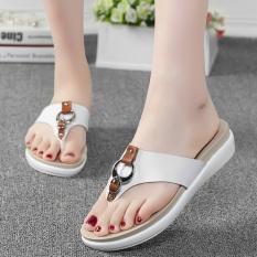 Jual Sepatu Sandal Wanita Kulit Asli Sol Datar Anti Selip Putih Putih Tiongkok Murah