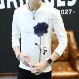 Spesifikasi Trendi Pria Korea Fashion Style Slim Leher Bulat Dicetak Baju Dalaman Lengan Panjang Kaos Sweater Bunga Putih Baru