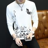 Toko Trendi Pria Korea Fashion Style Slim Leher Bulat Dicetak Baju Dalaman Lengan Panjang Kaos Sweater Kupu Kupu Putih Lengkap
