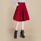 Beli Rok Wanita Terlihat Langsing Model Lipit Panjang Sedang Warna Hitam Merah Anggur Anggur Merah Online Murah