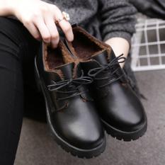 Toko Sepatu Kulit Wanita Pergelangan Kaki Rendah Sol Tebal Hak Tebal Netral Hitam Ditambah Kapas Di Tiongkok