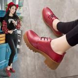 Perbandingan Harga Sepatu Kulit Wanita Pergelangan Kaki Rendah Sol Tebal Hak Tebal Netral Merah Anggur Di Tiongkok