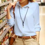 Jual Berrykega Kemeja Formal Wanita Bahan Sifon Ekstra Bulu Lengan Pendek Panjang Biru Lengan Panjang Satu Set