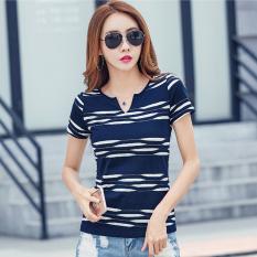 Perbandingan Harga Kerah V Slim Lengan Pendek Atasan Bergaris Lengan Pendek Kaos Biru Di Tiongkok