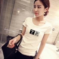 Jual Beli Xianyuansu Kaos Wanita Pas Badan Motif Cetak Tulisan Lengan Pendek Banyak Warna 496 Putih Baru Tiongkok