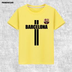 Liga Champions Katun Laki-laki Luo Leher Bulat Baju Lengan Sesiku Kaus (Kuning 1)