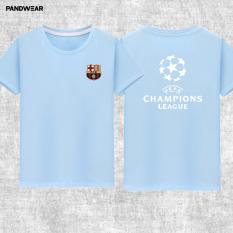 Liga Champions Katun Laki-laki Luo Leher Bulat Baju Lengan Sesiku T-shirt-nya (Biru Muda)