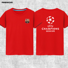 Liga Champions Katun Laki-laki Luo Leher Bulat Baju Lengan Sesiku Kaus (Merah)