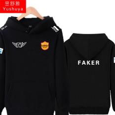 Liga T1 Tim Baju Seragam Tim Beludru Tebal Jas Kaos Sweater Jaket Hoodie (Faker Hitam)