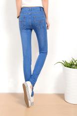 Biru Muda Slim Jeans untuk Wanita Kurus Tinggi Pinggang Jeans Wanita Biru Denim Celana Pensil Peregangan Pinggang Wanita Jeans Biru Celana Calca Feminina-Internasional