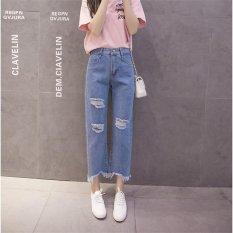 Biru Muda Wanita Jeans Robek Denim Celana Lubang Di Lutut Slim Kasual Fashion Bawah Wanita Slim Trousers Summer Legging Jumbai Cotton High Waist-Intl